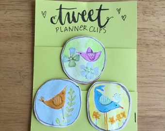 TWEET planner clips for journals or planners