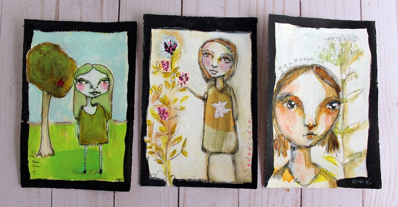 BOTANY GIRLS  acrylic original trio on paper image 0