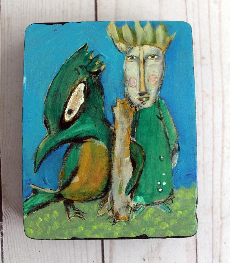 Angry Bird  original acrylic mini painting image 0