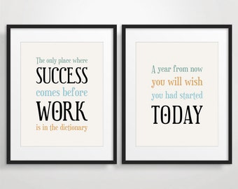 Inspirational Quote Print Typography Poster Office Decor Etsy