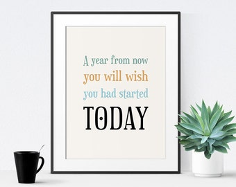 Printable Quote, Office Art, A Year From Now, Inspirational Quote, Motivational Poster, Typographic Print - Instant Download