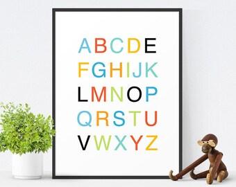Alphabet Poster, Modern Nursery Decor, Alphabet Art, Nursery Print, Kids Wall Art, Children's Art