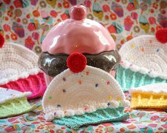 Handmade crocheted cupcake dishcloths pot holders