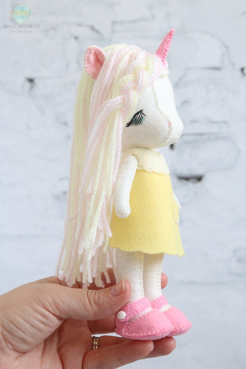 felt unicorn felt headband Gingermelon unicorn Li/'l Luv Unicorn doll heirloom doll Gingermelon unicorn unicorn girl Gingermelon doll