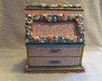 "Beautiful Jewelry Box, Vintage Artistically Altered, One of a kind ""Sweetness"""