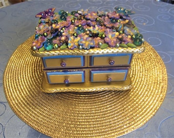 Beautiful Butterflies & Flowers Jewelry Box, Vintage, Artistically Altered, One of a kind