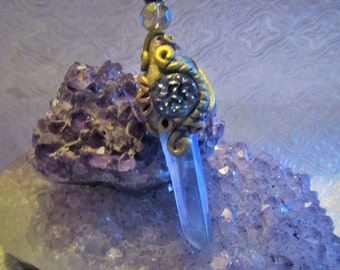 Beautiful Angel Aura Quartz Crystal Pendant , One of a kind