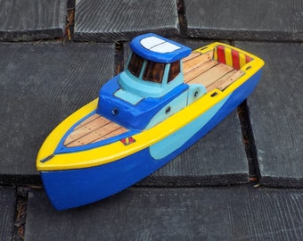 FINN Hand made Toy boat /2 tone blue and yellow