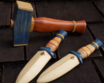 baby THOR'S HAMMER with matched dagger pair/  blue with gold bands