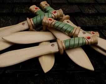 Grand Jade Dragon with ruby eyes /Nepalese Khukri style  wood toy  short sword