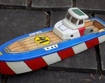 LAKE RACER toy boat........NO. 41/red and white stripe hull,blue trim