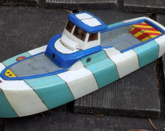 TUMBLER Wooden Toy Boat / two tone blue  and white striped