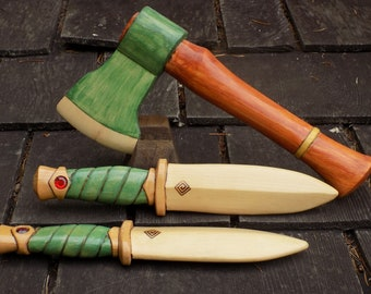 Forest  Ranger  /   Ax and Dagger  wooden toy set/ green w/ Red stones