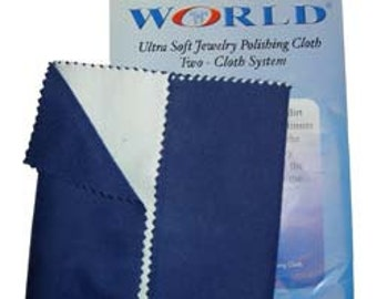 "Polishing Cloth 12"" x 15"" - 2 Part Blue & White (Pkg of 12) (PS120)"