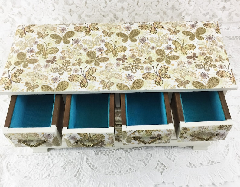 Gold Butterfly Decoupage Paper 2 Large and 4 Small Drawers Wood Jewelry Box Vintage Painted Light Ivory 2 Ring Compartments