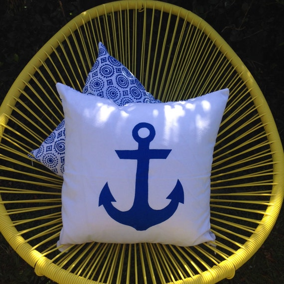 Anchor Nautical Cushion, 45cm White with Reversible Navy Mexicala design screenprint