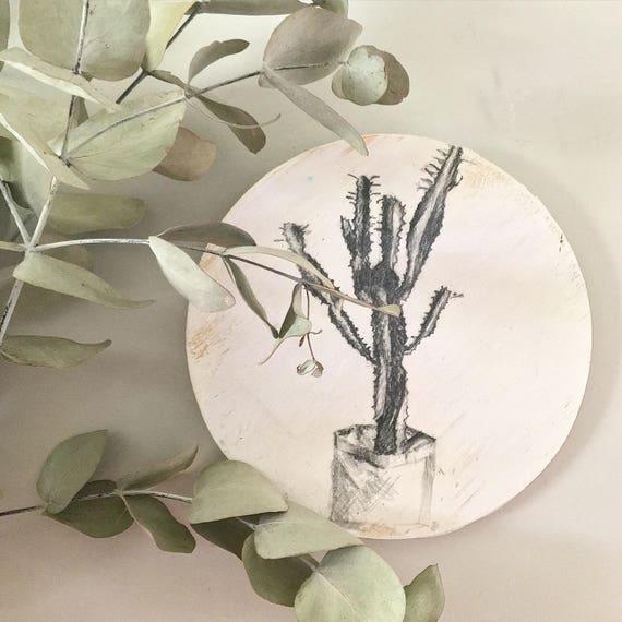 Arizona Cactus sketch black and white round art 20cm Timber Porthole