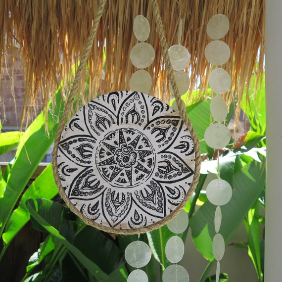 Retro Tribal  Mandala Black and White Round Wall Art, Boho Design,  Natural Timber Porthole