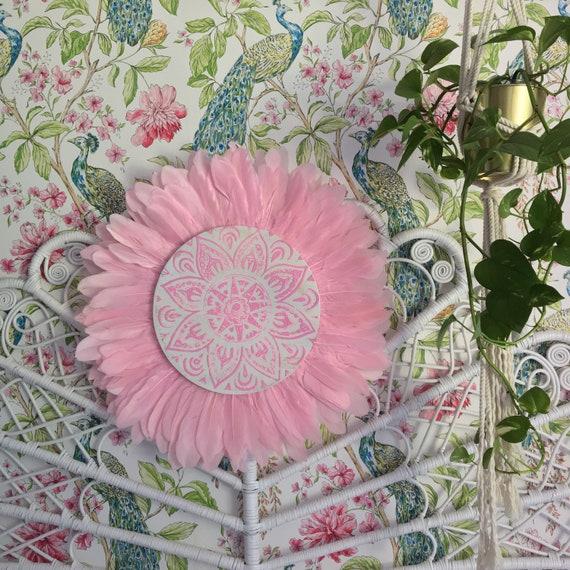Tribal Mandala Baby Pink Feathers Round Wall Art, Boho Design,  Timber Porthole