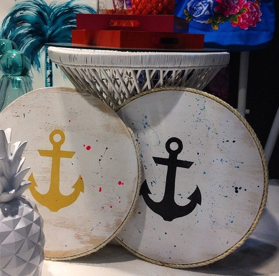 Anchor Wall Art Round Timber Porthole with Sisal Rope Detail