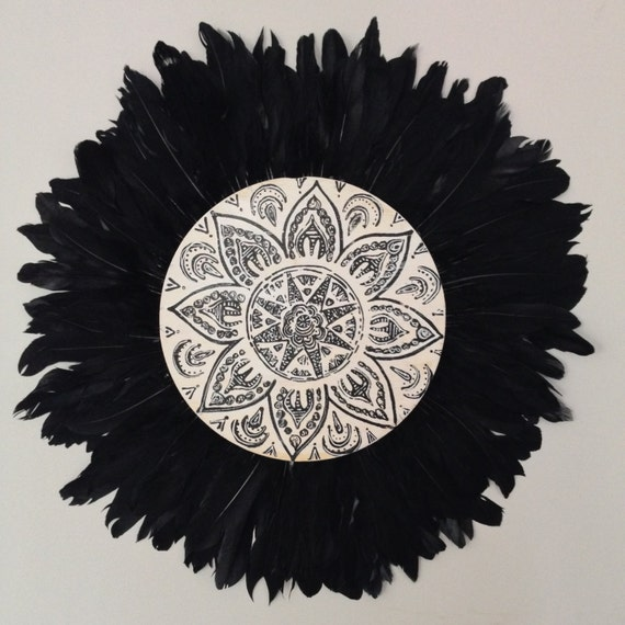 Tribal Mandala Black White Feathers Round Wall Art, White black Boho Design,  Timber Porthole