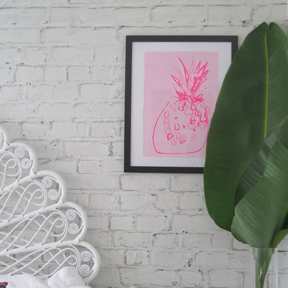 Pineapple Wall Art, Neon and Baby Pink, Hand painted A3 Screen Print on Textured Paper
