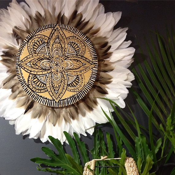 Mandala Flower design Natural Timber White & Neutral Brown Feathers Round Wall Art, ,  Natural Timber Porthole