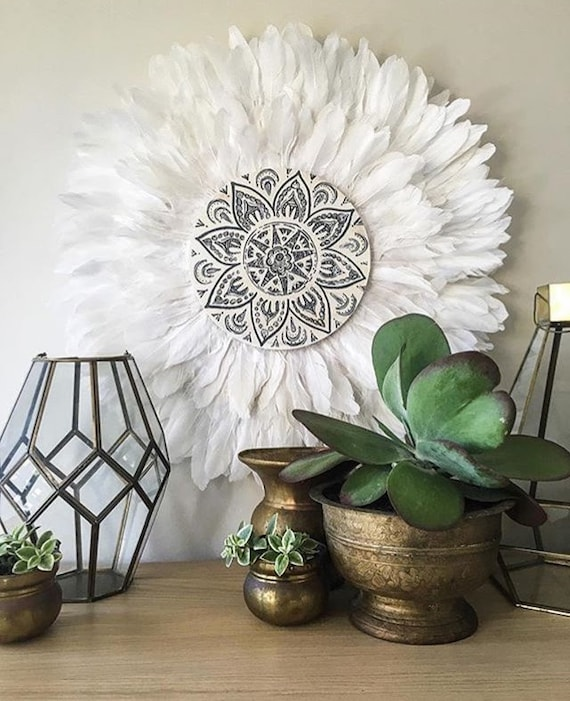 Tribal Mandala White and Grey  Double Layer Feathers Round Wall Art, Boho Design,  Timber Porthole