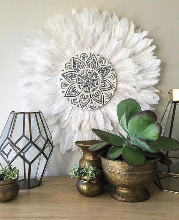 Tribal Mandala White and Grey  Double Layer Feathers Round Wall Art, Boho Design,  Timber Porthole