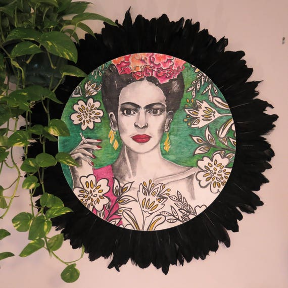 Frida Kahlo Black Feathers Round Wall Art, Pop Art Design,  Timber Porthole