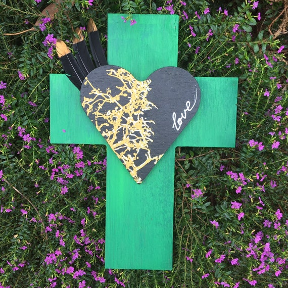 ONE ONLY Crucifix 'Frida Love heart ' with feathers Wall Art, White black Boho Design,  Timber
