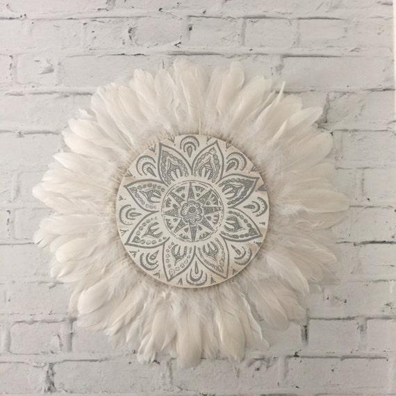 Tribal Mandala White and Grey  Feathers Round Wall Art, Boho Design,  Timber Porthole