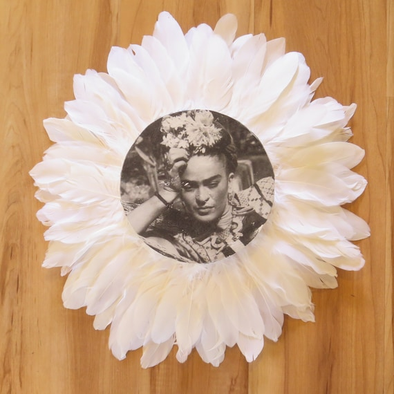 Frida Daydreaming Black & White Feathers Round Wall Art, Boho Design,  Timber Porthole