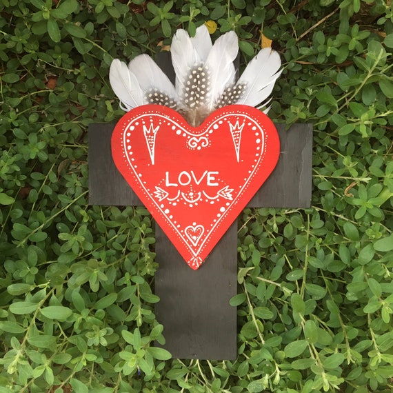 Crucifix 'Frida Love' Heart White Feathers Wall Art, White black Boho Design,  Timber