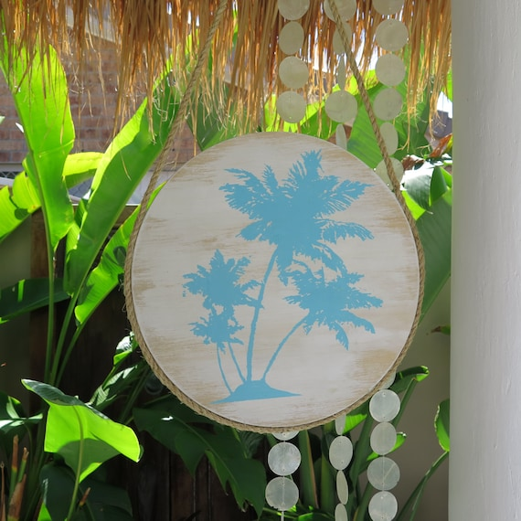 Round Wall Art, Turquoise Palmtree Design on Handpainted Timber Porthole