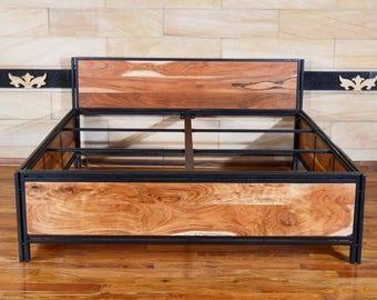 Bettrahmen 180 x 200 aus recyceltem holz und metall | massivholz Industriestil Bettgestell | 180 x 200 x 100 | Design metallbetten