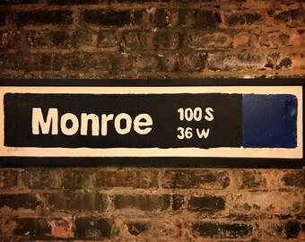 Monroe Blue Line Stop, Chicago Blue Line, The Loop, Chicago Transit System, Train Art, Street Art, Vintage Signs, L Train, CTA, Art