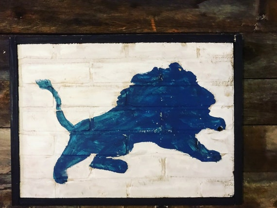 Detroit Lions Sign City Of Detroit Lions Art Detroit Vintage Sign Vintage Detroit Sign Lions Sign Wooden Signs Football Art