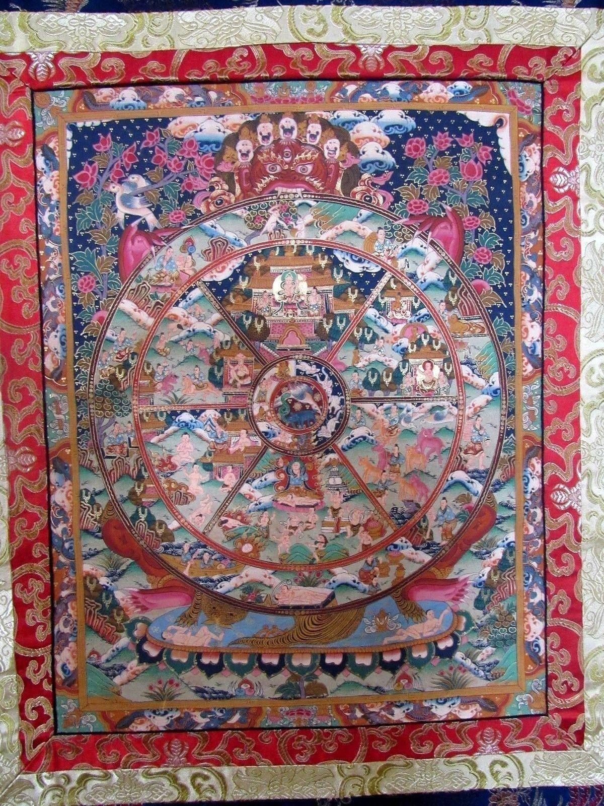 BHAVACAKRA Rad des Lebens-Blattgold Tibet Buddah Seide