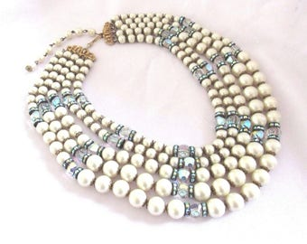Vintage Signed HOBE 5 Strand Faux Pearl, Aurora Borealis Crystals+Rondel Beaded Necklace