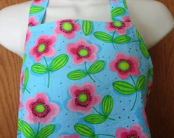 Woman's Full apron Bright blue with pink flowers