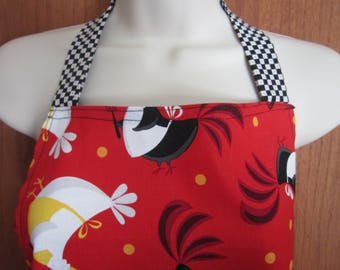 Adult Full Apron Bright Red with Chickens