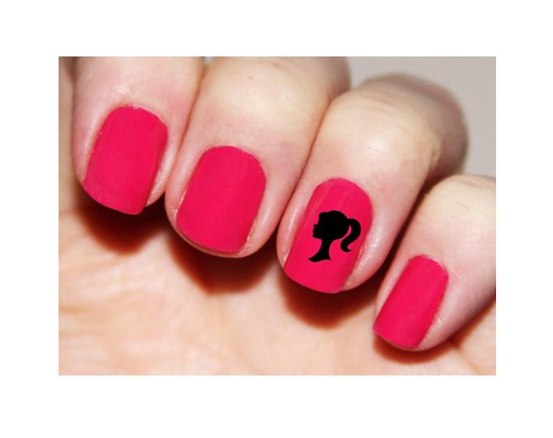 Barbie Dollie Silhouette Fingernail Stickers Chevron Nail   Etsy