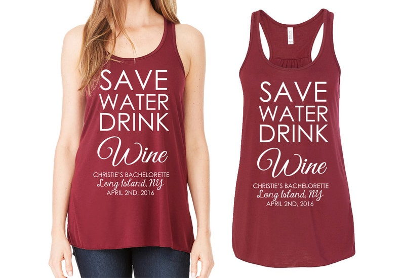 e52d1f5d Bridesmaid Tank Tops Bridal Party Save Water Drink Wine   Etsy