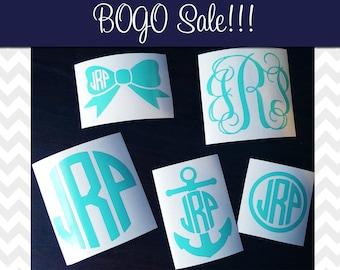 BOGO Sale Monogram Decal Sample Pack Vinyl Decal Sticker