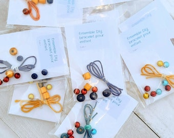 DIY bracelet kit to assemble for children - Wooden and / or plastic beads (individually)