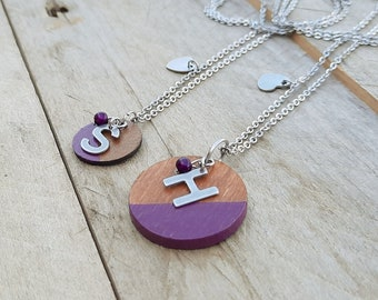 Mother and daughter duo 2 Personalized necklaces with initials, 20 colors to choose from! Personalized gift letter stainless steel chain