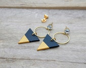 Greenguard certified black and golded wood earrings Black and gold triangles earrings and raw brass rings.