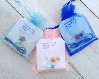 DIY bracelet kit to assemble for children - Beads of semi-precious stones (jade, agate, quartz) and / or glass and / or hematite