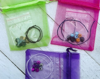 DIY set for 6 or 10 bracelets to assemble for children - Wooden and / or plastic beads